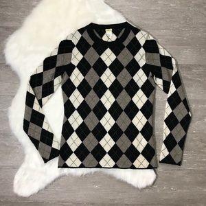 J. Crew 💯 Cashmere Argyle Crewneck Sweater